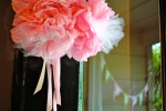 Tissue and tulle pom poms